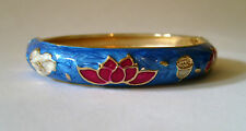 ROUND ENAMEL BANGLE WITH SPRING CLASP OPENING - BLUE FLORAL IN COLOURED GIFT BOX