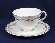 ROYAL DOULTON STRASBOURG H4958 MAROON & GOLD BOARDER CUPS & SAUCERS