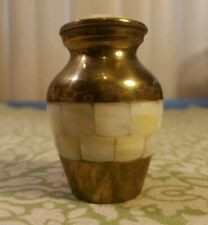 "Elegant used 2 3/4"" (tiny) Mother Of Pearl & Brass Pet Urn / Cremation"