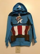 Marvel Captain America Zip Costume Hoodie Sweater w/ Face Mask Blue Boys Sz 5/6