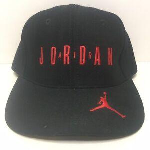 Vintage 90s Nike Air Jordan Embroidered Black Wool Snapback Cap Hat #23 Bulls