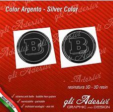 2 Adesivi Resinati Sticker 3D BRABUS Smart 20 mm Nero e Argento GEL