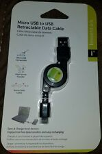 Iessentials Retractable Data/charging Cable Micro Usb To Usb (black) 3.3 feet