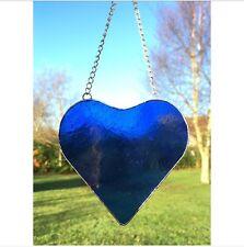 Handmade Stained Glass Blue Heart Suncatcher Tiffany Glass Technique Glass