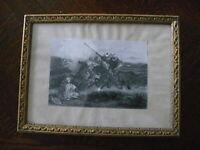 Rarität über 100 Jahre altes Bild Kriegsbild Druck  mit Rahmen