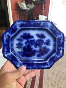 Flow Blue Decorated Historical Whiteware Mini 8-Sided Ceramic Marked Platter