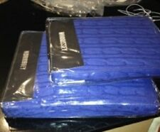 MORRISSEY FRENCH BLUE CABLE KNIT THROW & EURO MATCHING PILLOWCASE - rrp $179