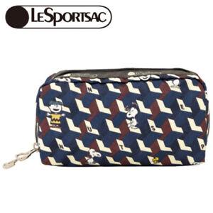 LeSportsac x PEANUTS RECTANGULAR COSMETIC Peanuts Geometric Snoopy JP NEW