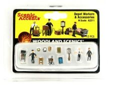 N Scale Woodland Scenics A2211 Depot Workers & Accessories Figures (12) pcs