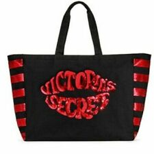 VICTORIAS SECRET BLACK RED SEQUIN TOTE ZIPPER SHOPPING WEEKENDER GYM BEACH BAG