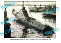 OLD LARGE PHOTO JAPANESE MIDGET SUBMARINE RECOVERED FROM SYDNEY HARBOUR c1942