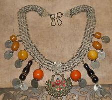 Vtg Damascus Faturan Bakelite Necklace Islamic Coin Dangle Necklace