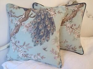 """16"""" LAURA ASHLEY  NEW BELVEDERE  FABRIC  DUCK EGG CUSHION COVER  PIPED"""