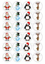 24 Christmas Characters Iced / Icing Cupcake Topper Edible Fairy Cake Toppers