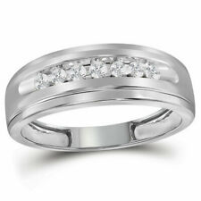 10k White Gold Mens Round Diamond Band Wedding Anniversary Ring 1/4 Ctw