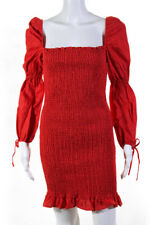 Reformation Womens Hilary Smocked Off Shoulder Mini Dress Red Size Extra Large