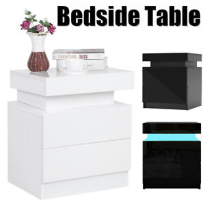 Set of 2 Drawer Nightstand with LED Light White High Gloss Bedside Table Bedroom