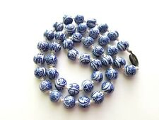 VINTAGE CHINESE BLUE WHITE PORCELAIN BEADS NECKLACE STERLING SILVER CLASP