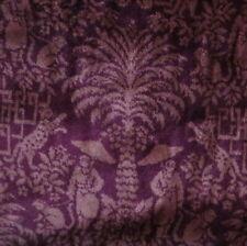 12+ yards Burgundy Rose Chinoiserie Linen Velvet Upholstery Drapery Fabric