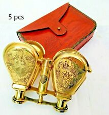 Nautical Brass 5inch Binocular Flap style Open with Leather Cover  lots of 5 pcs