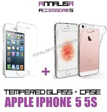 CUSTODIA COVER + PELLICOLA VETRO TEMPERATO APPLE IPHONE 5 5S 5C SE CASE GLASS