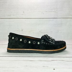 COACH Women Roccasin Slip On Black Suede Moccasins Flat Fur Lined G1210 Sz 6.5 8