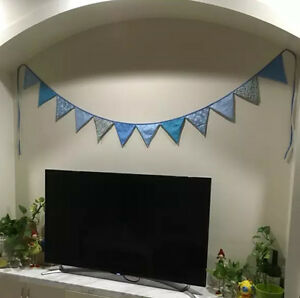 3M Lovely Floral Cotton Fabic Buntings 12 Flags Double Sided Party Banner - BLUE