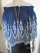 NWT NAVY/WHITE OFF THE SHOULDER TUNIC TOP SIZE MEDIUM CAMEO ROSE AT NEW LOOK