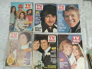 SIX1971 TV WEEK POSTERS MAGAZINE,ELVIS,DADDY COOL,MOD SQUAD,JEANNIE,EMMY NIGHT