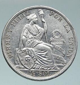 1907 PERU South America Original OLD ANTIQUE Silver Peruvian 1/2 Sol Coin i91516