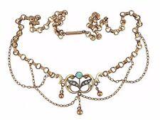 Jugendstil Gold Double Australischer Opal Saat Perle Damen Halskette Collier