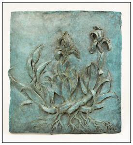 Gary Lee Price Original Mini Irises Bronze Relief Sculpture Flowers Signed Art