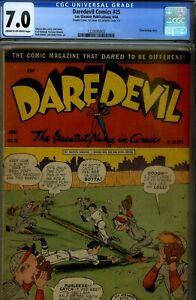 DAREDEVIL #25- CGC 7.0- VERY FINE-,WWII COMIC-CLAW STORY-BASEBALL CVR
