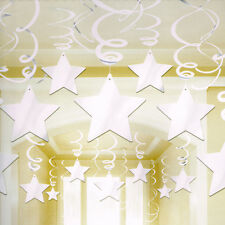 WHITE SHOOTING STAR SWIRL DECORATIONS (30) ~ Birthday Party Supplies Foil Plain