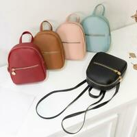 Women Girls School Bag PU Leather Backpack Mini Rucksack Purse Travel Handbag B