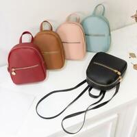 Women Girls School Bag PU Leather Backpack Mini Rucksack Purse Travel Handbag B