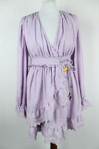 FREE PEOPLE BNWT Light Purple Long Sleeve V-Neck Women Wrap Dress Size EU XS