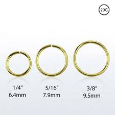 18KT Gold Plated Sterling Silver Nose Ring Continuous Seamless Hoop 20 Gauge 20G