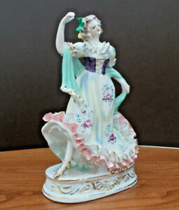 """Antique - Meissen Porcelain Woman Dancer Figurine, Made In Germany, 8 1/2"""" Tall"""