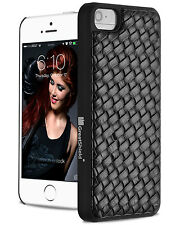 GreatShield Woven-Pattern Leather Case Cover for Apple iPhone SE 5S 5 (Black)