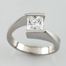 18K White Gold Princess Solitaire Diamond Engagement Ring E/VVS2 Size 5 GIA Cert