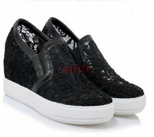 2017 Ladies Lace Floral Hidden Wedge Heels Slip On Sneakers Plus Size Shoes Size