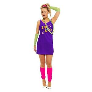 Womens I Love The 80s Crystal Printed Fancy Dress Hen Party Pop Star Retro 7855