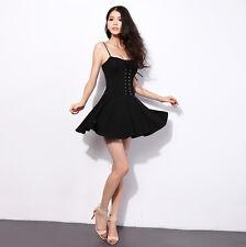 Retro Spaghetti Strap Lace-Up Rockabilly Skater Dress Gothic Punk Dresses