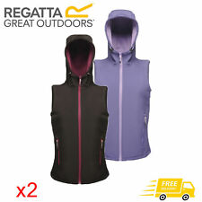 2 x Regatta Women's Arley Water Repellent Softshell Bodywarmer Black & Purple