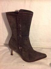 Faith Dark Grey Mid Calf Suede Boots Size 6