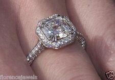 Asscher Cut White CZ Studded Wedding Engagement Women 925 Sterling Silver Ring