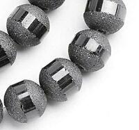 100 Galvanisierte 6mm Glasperlen Schwarz Matt mit Silber plattiert 1 Strang R377