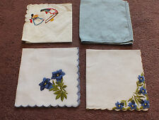 Collectible Ladies Handkerchief Set 4 Embroidered Blues Kids On Teeter Totter