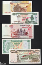 New listing Cambodia. Specimen Issues. 1995:100,500,100 R, 1999:100 R, 2002:50 Riels (5)